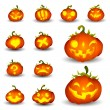 Spooky Vector Pumpkin Set - Different Facial Expressions — Stock vektor
