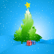 Christmas Background with Tree and Presents — Stock Vector