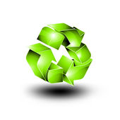 3D Recycling Icon - Glossy Vector Design — Stock Vector