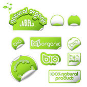Set of vector labels for natural, organic, fresh, healthy, bio products — Stock Vector