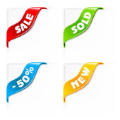 Sale labels, ribbons — Stock Vector