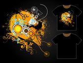 Grungy T-shirt Design Template — Stock Vector