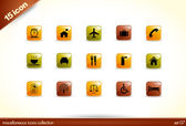 15 Beautiful Glossy Shiny Vector Icons - miscellaneous collection - set — Stock Vector