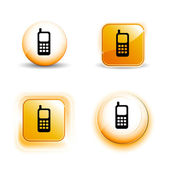 Small Set of Shiny Glossy Mobile Phone Icons — Stock Vector
