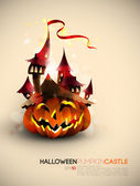 Halloween Castle Grown on a Pumpkin — Stock Vector
