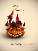 Halloween Castle Grown on a Pumpkin — Stock Vector