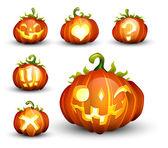 Spooky Vector Pumpkin Set - Different Facial Expressions — Stock Vector