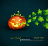 Funny Halloween Pumpkin with Spreading Leafs — Stock Vector