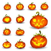 Spooky Vector Pumpkin Set - Different Facial Expressions — Stockvector