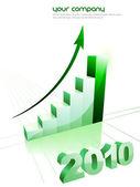 Gráfico de crescimento dos negócios estatísticas, conceito de economia — Vetor de Stock