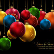 Vector de stock : Christmas Banner with Realistic Balls and Shiny Wet Drops