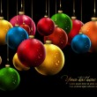 Christmas Banner with Realistic Balls and Shiny Wet Drops — Stock Vector