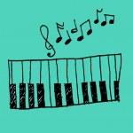 音乐图标与钢琴和音乐笔记 — 图库矢量图片 #31933301
