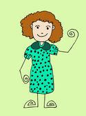 Beautiful woman cartoon in Jaidee Family Style — Stock Vector