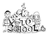 Back to school and Cute schoolchild — Stock Vector