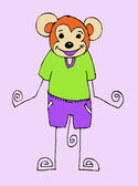 Kreskówka małpa illustraiton w stylu rodzinnym jaidee — Wektor stockowy