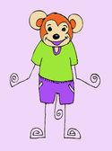 Scimmia di illustraiton simpatico cartone animato in stile famiglia bimba — Vettoriale Stock