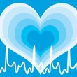 Shiny blue heart with cardiogram — Stock Vector