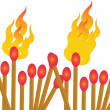 Matches on fire — Stock Vector #32587243