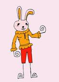 Cartoon animals and rabbit cartoon in Jaidee Famil — Stock Vector