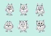 Cute Collection of Bright Owls — Stock Vector