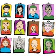 Stock Vector: People faces cartoon