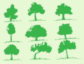 Vector trees with leaves — Stock Vector
