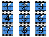 Film countdown numbers. — Stockvector