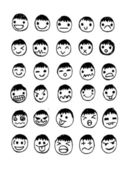 Set of thirty hand drawn faces — Stock Vector