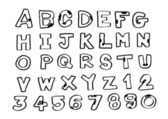 Font Sketch Hand drawing vector letters — Stock Vector