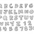 Font sketch Hand drawing vector letters — Stock vektor