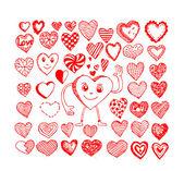 Conjunto de corazones de san valentín — Vector de stock