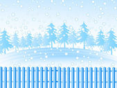 Christmas tree outdoors with snow — Stockvector