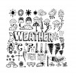 Drawing idea of weather symbols widget and icons — Stock Vector