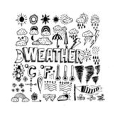 Drawing idea of weather symbols widget and icons — Vector de stock