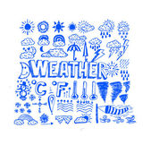 Drawing idea of weather symbols widget and icons — Wektor stockowy