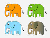 Cute cartoon elephant Vector illustration — Stock Vector