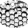 People faces cartoon — Stock Vector