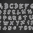 Vector real Hand drawn letters font written with a pen — Imagen vectorial