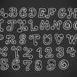 Vector real Hand drawn letters font written with a pen — Stockvectorbeeld
