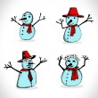 Doodles set - snowmans — Stock Vector