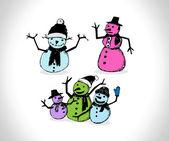 Doodles ensemble - snowmans — Vecteur