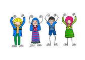 Cute happy cartoon kids — Stock Vector