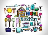Sketch Kitchen elements doodle vector — Stock Vector