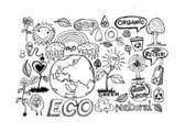 Eco Doodles ECO vector set — Stock Vector
