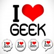 I Love Geek — Stock Vector