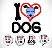 I Love Dog — Stock Vector