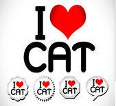 Jag älskar katt — Stockvektor