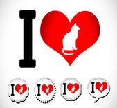 Me encanta el gato — Vector de stock