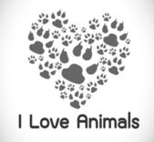 I love animals — Stock Vector